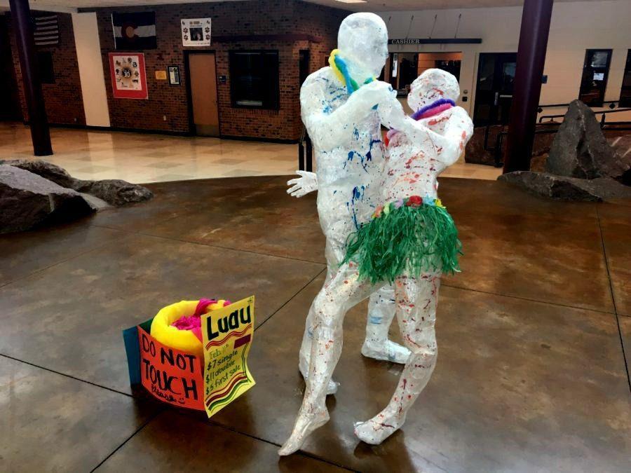 Sculptures created by sophomore Regan Ostler and junior Bobby Swerer.