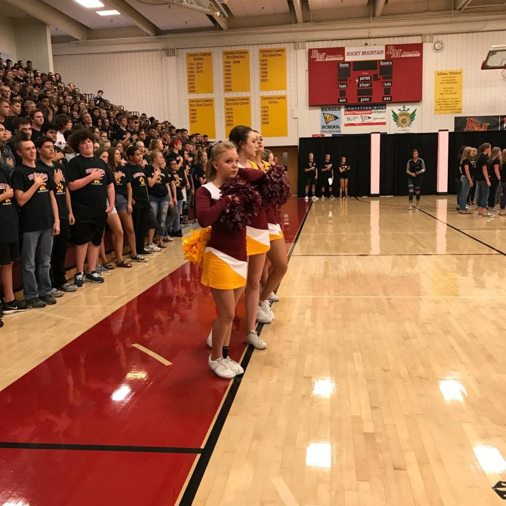 Rocky Students during the national anthem at back to school assmebly