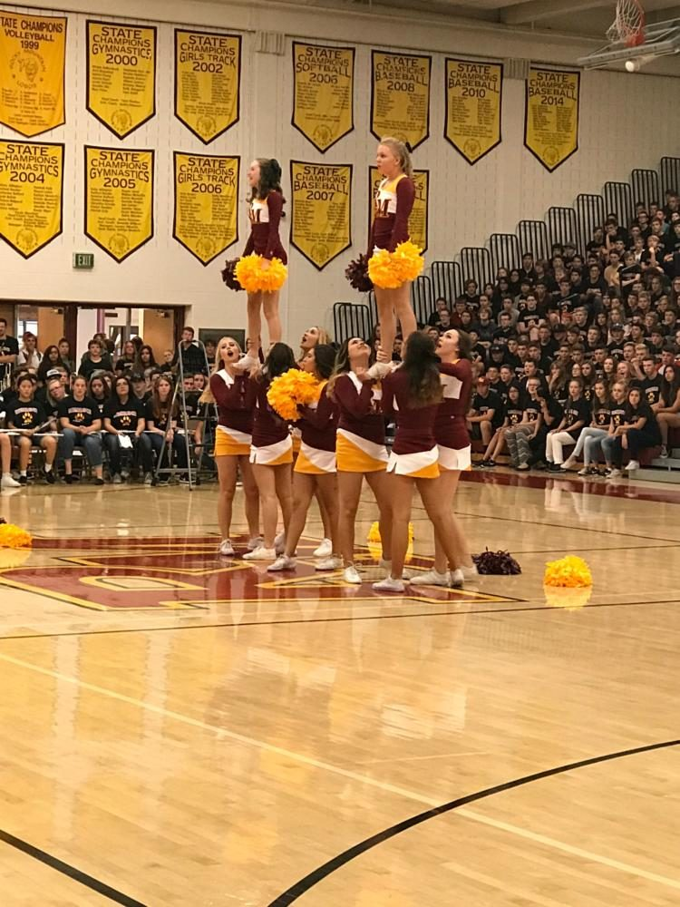 Cheerleaders at back to school assembly