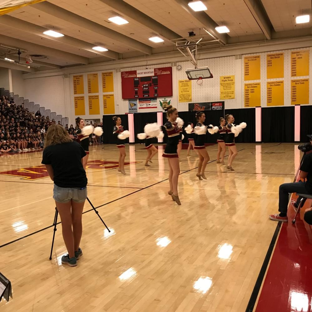 Dance team performing at back to school assembly