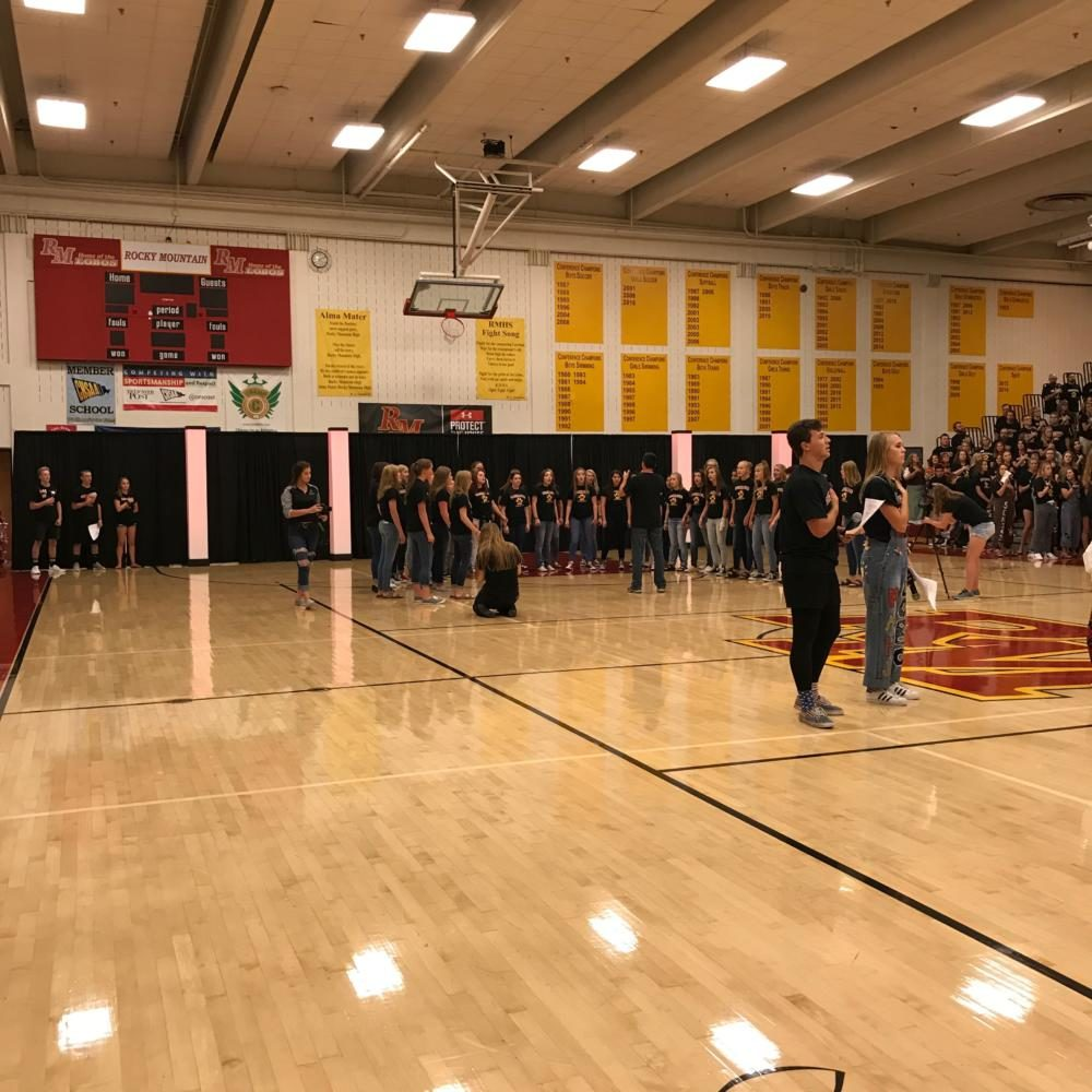 Rocky students during the national anthem at the back to school assembly