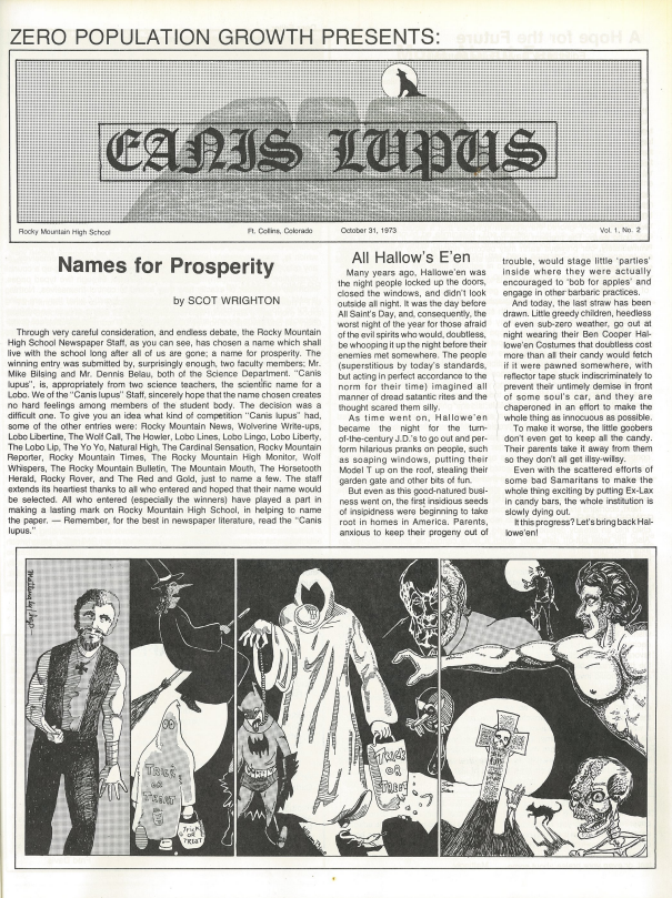 The first published edition of Rocky Mountain's first newspaper, Canis Lupus. (1973)