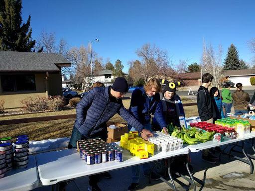 Food bank volunteers get prepared.