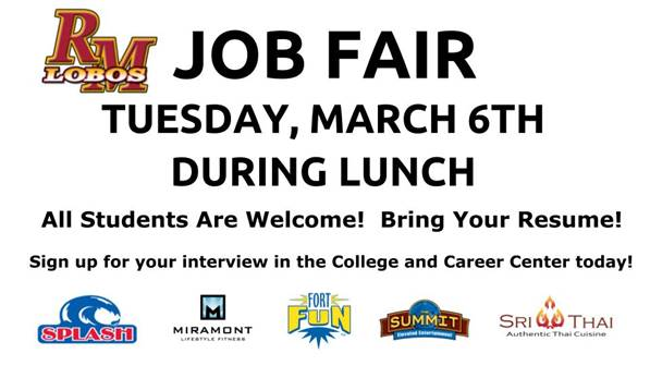 Rocky job fair is coming up next week.
