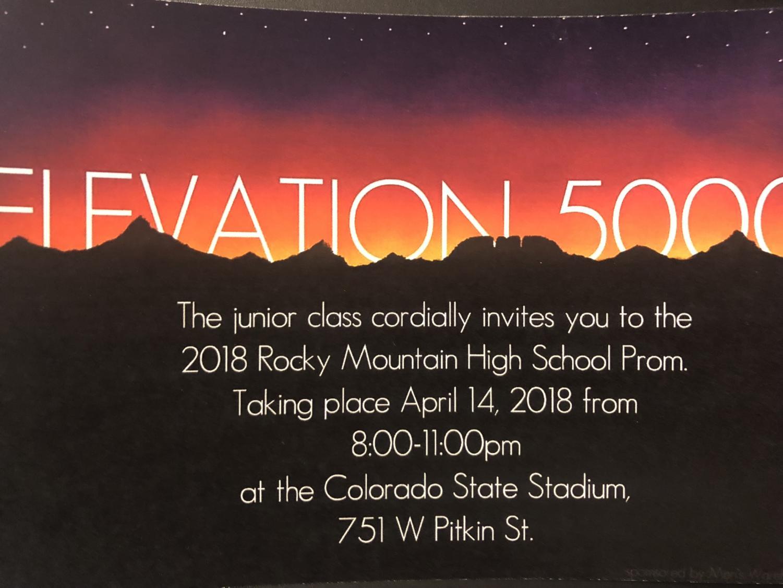 Prom 2018 invitation Elevation 5000.