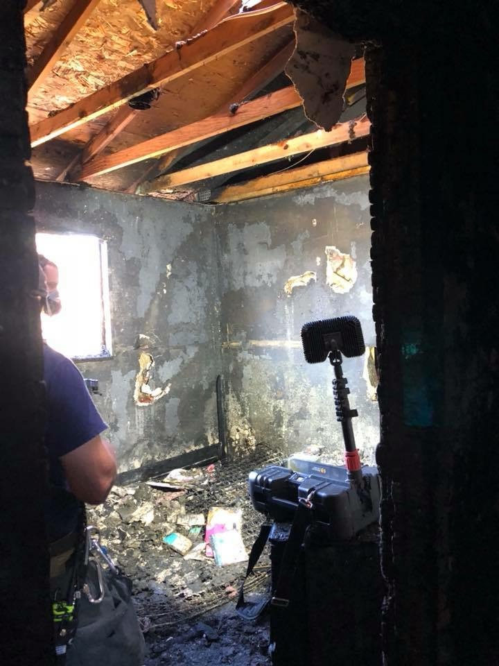 My sister's room later in the day after the fire had been put out.