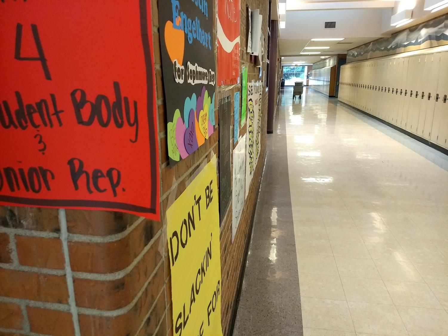Posters for Student Council candidates adorn the halls of Rocky as Student Council elections take place this week.