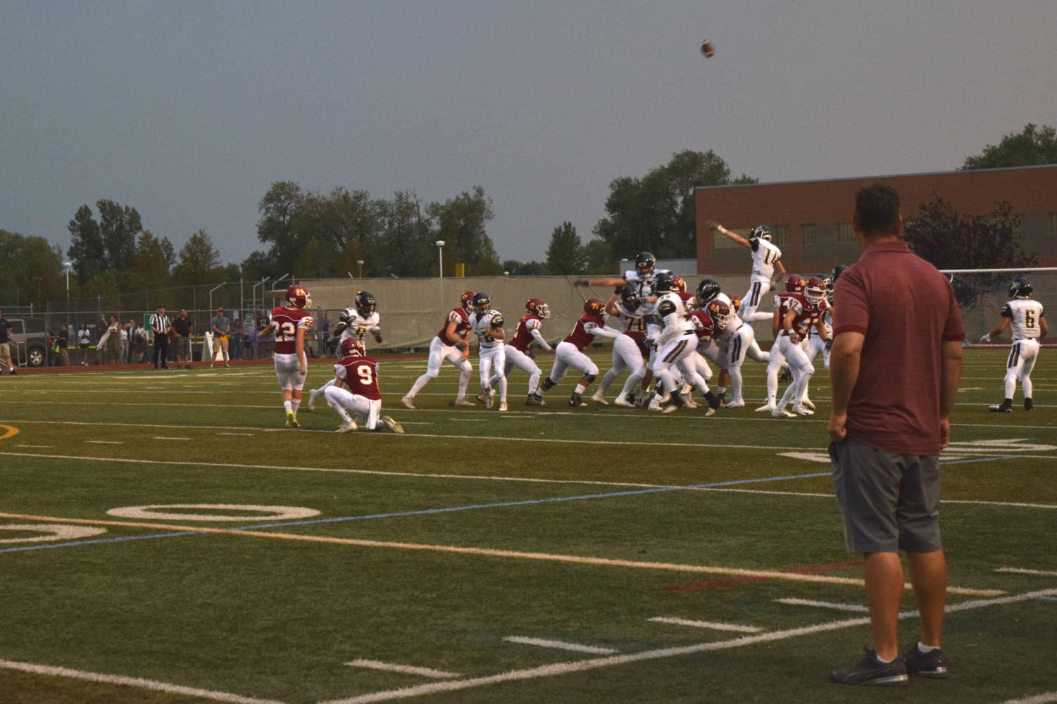 Rocky puts points on the board with a field goal during the first half of the game.