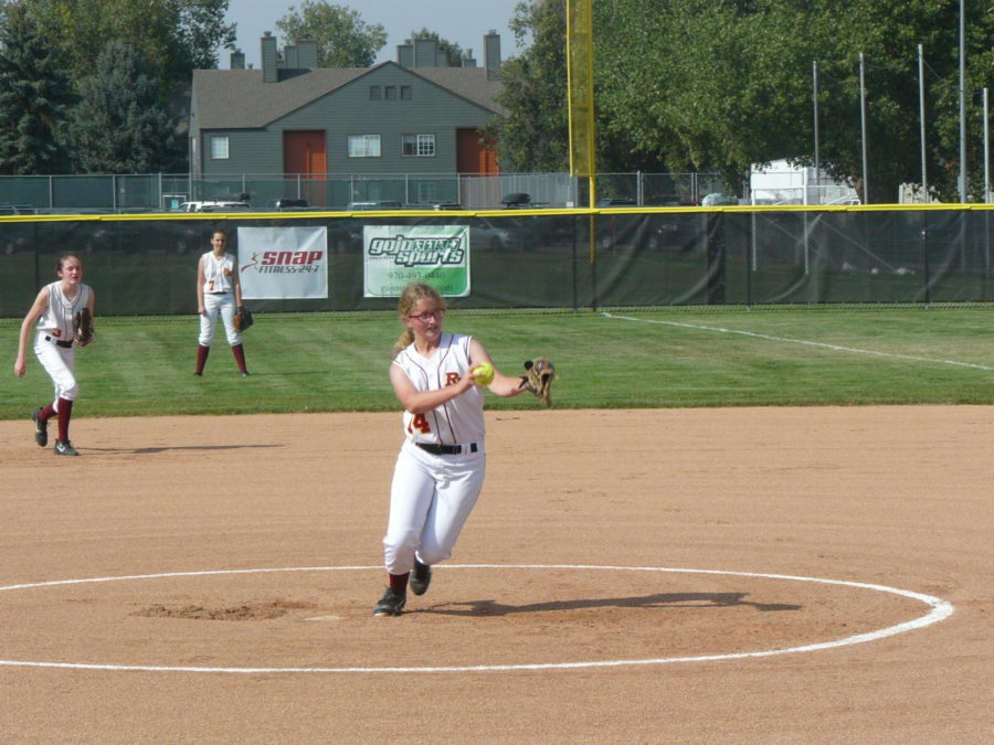 C teams pitcher Brittney Hoffman pitches a strike in a game against Erie on August 23.