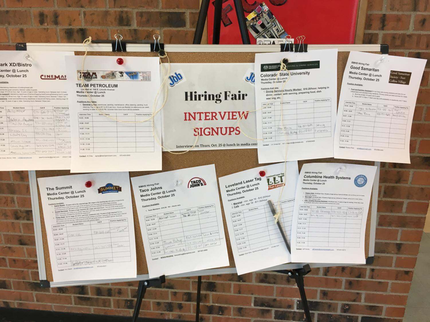 The Hiring Fair sign up board is located near the foods lab.