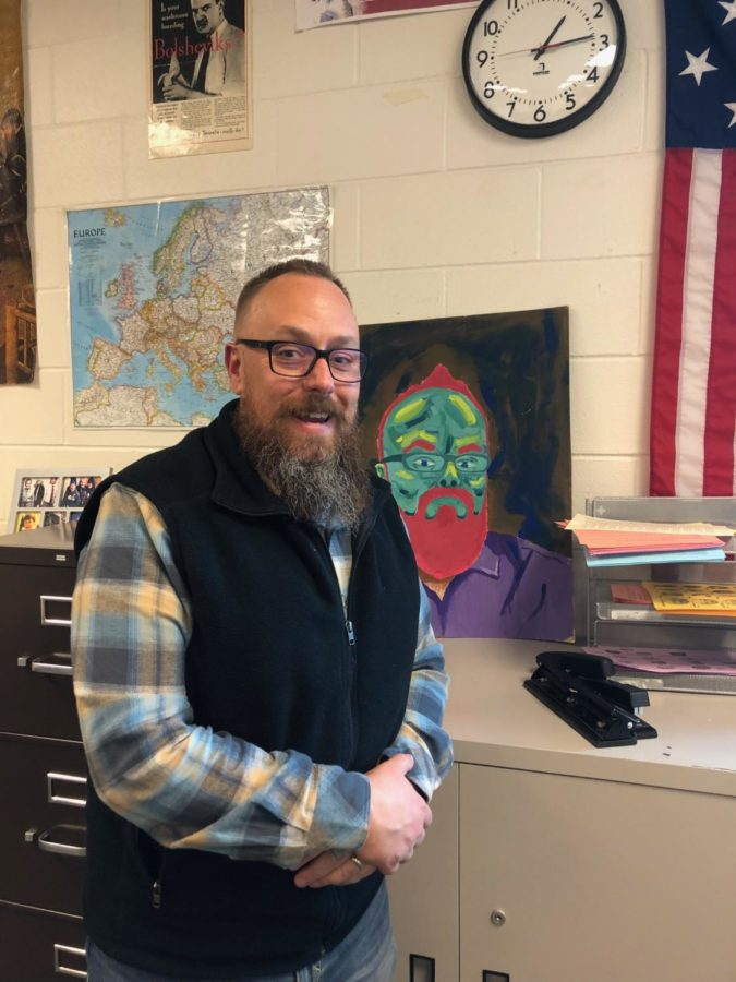 History teacher John Robinson can be found in room 400 or in his office in Maroon Bells.