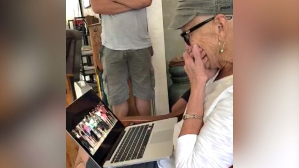 Facebook photo of Ms Lueck's reaction to the thoughtful video she received.