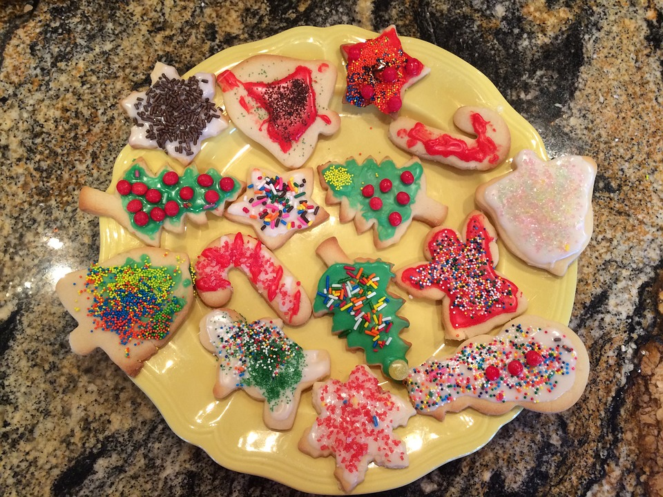 An assortment of holiday themed cookies.