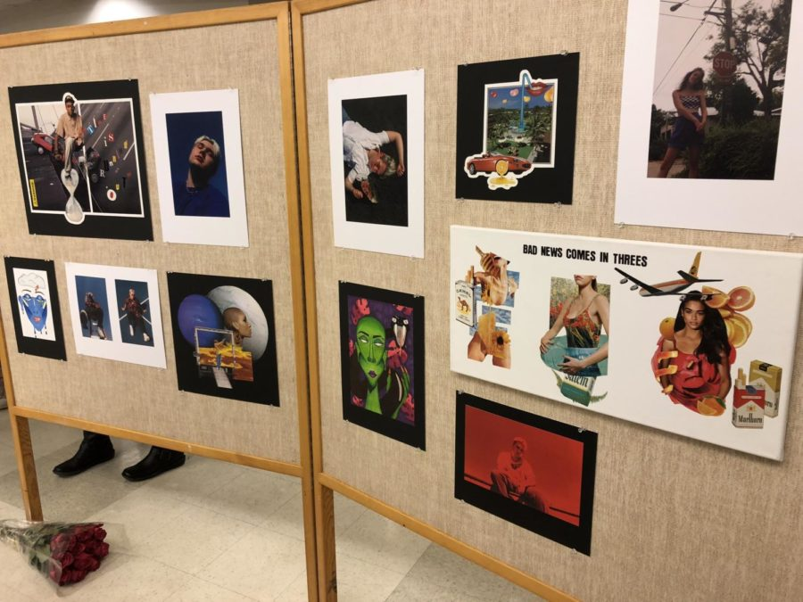 Sarahs Eley, senior, display shows her interesting collages she has made out of magazine and abstract photos of her friends.