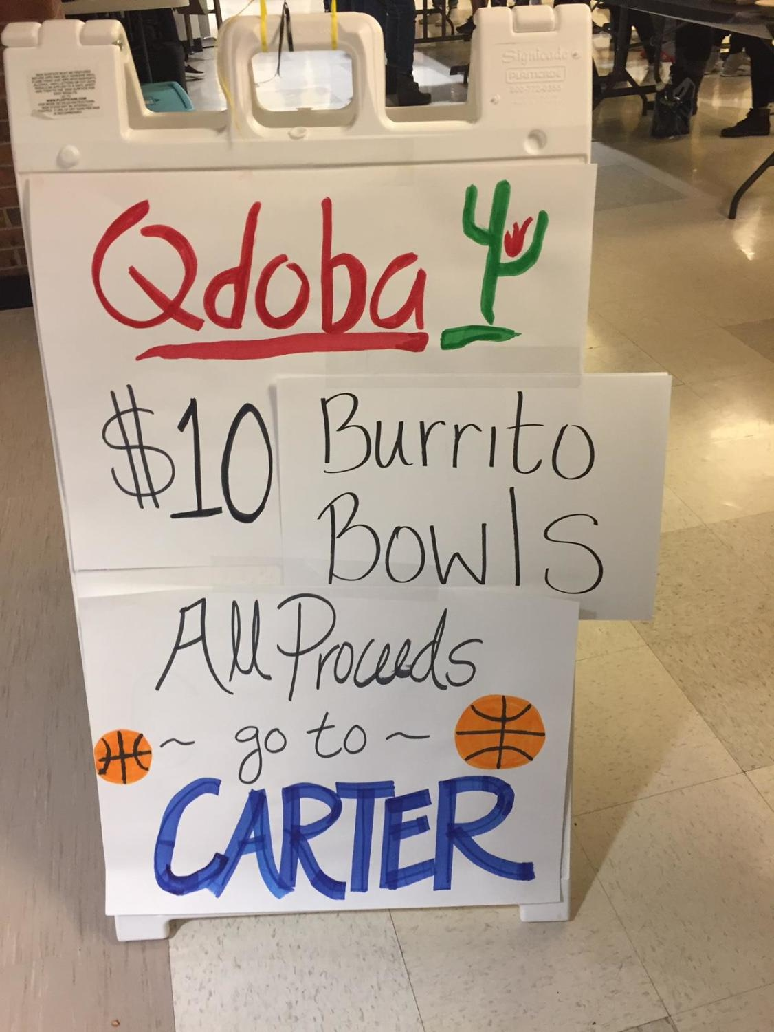 Qdoba bowls are sold at the Friday game on January 18 to raise money for the Edgerley family.