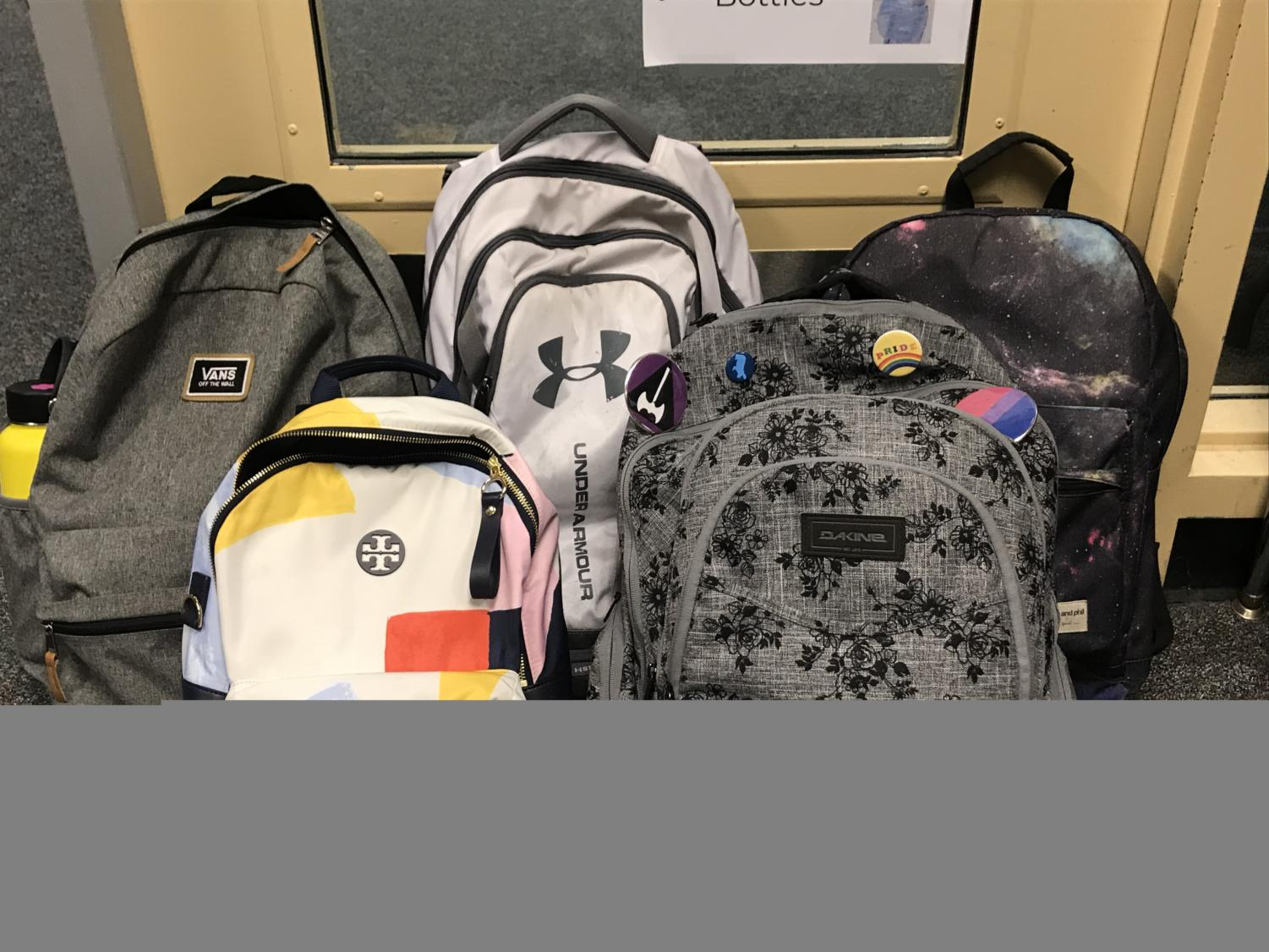 Some of the backpacks that were weighed.