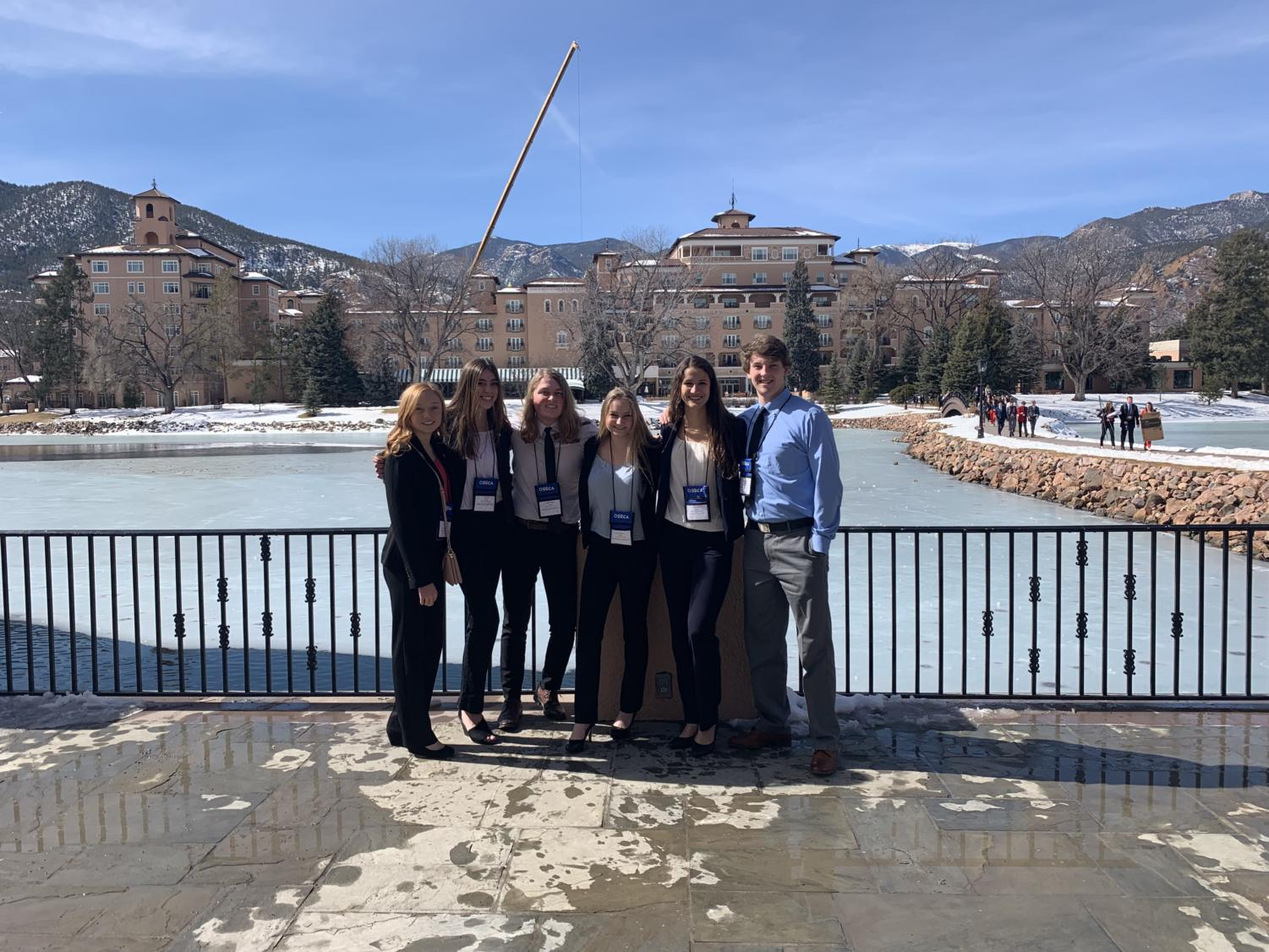 Six DECA State attendees at the Broadmoor before they go to their roll plays.