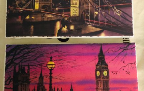 My picture (top) is of the London bridge at sunset. The colors in the right portion of the sky look oversaturated. My mother's picture (bottom) is of Big Ben and Westminister Abbey.