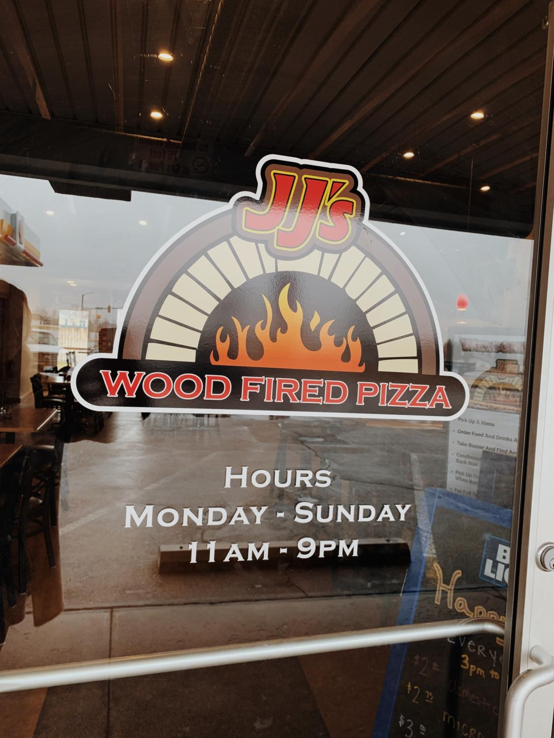 This is the front entrance at JJ's Wood Fired Pizza.