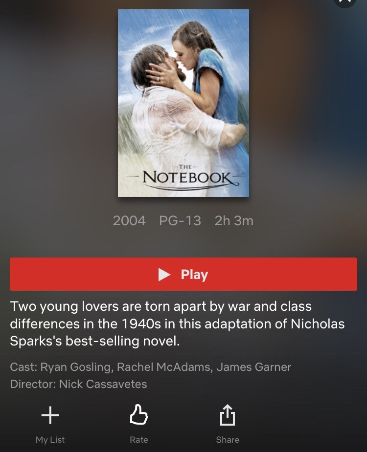 The Notebook is one of many Nicholas Sparks movies on Netflix.