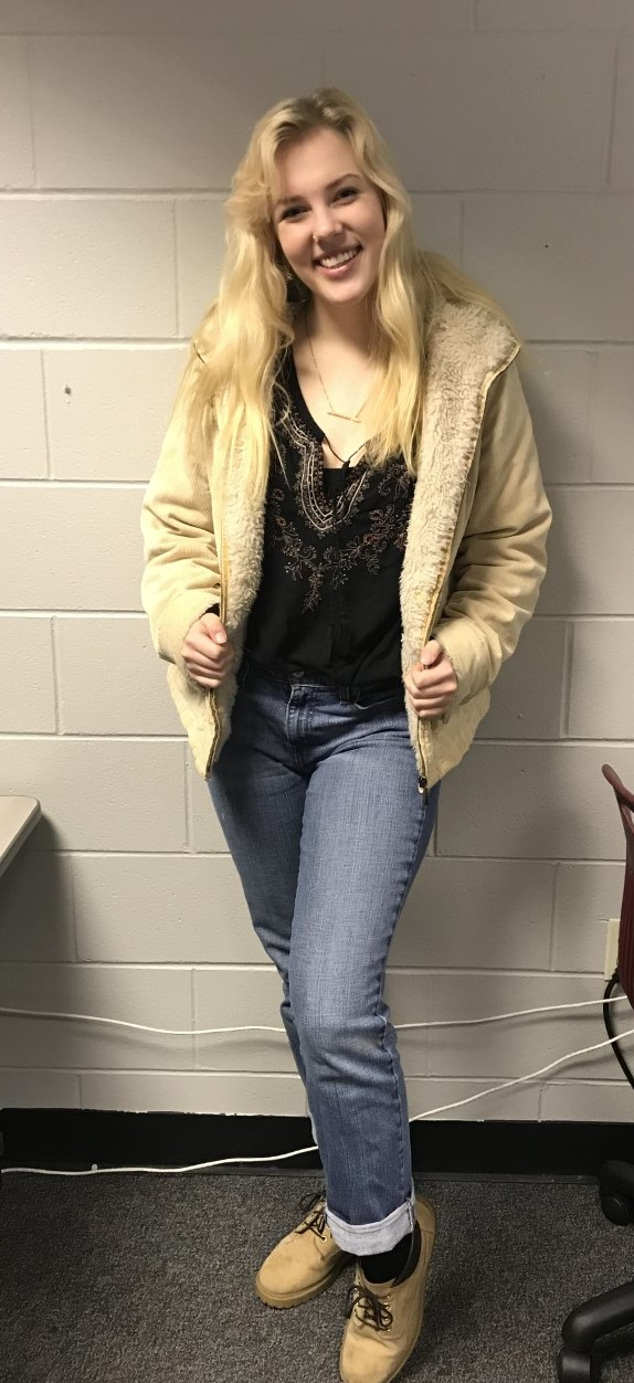 A completely thrifted outfit on Mia Stolpe.