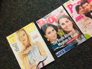 Advertising perfect bodies through magazines.