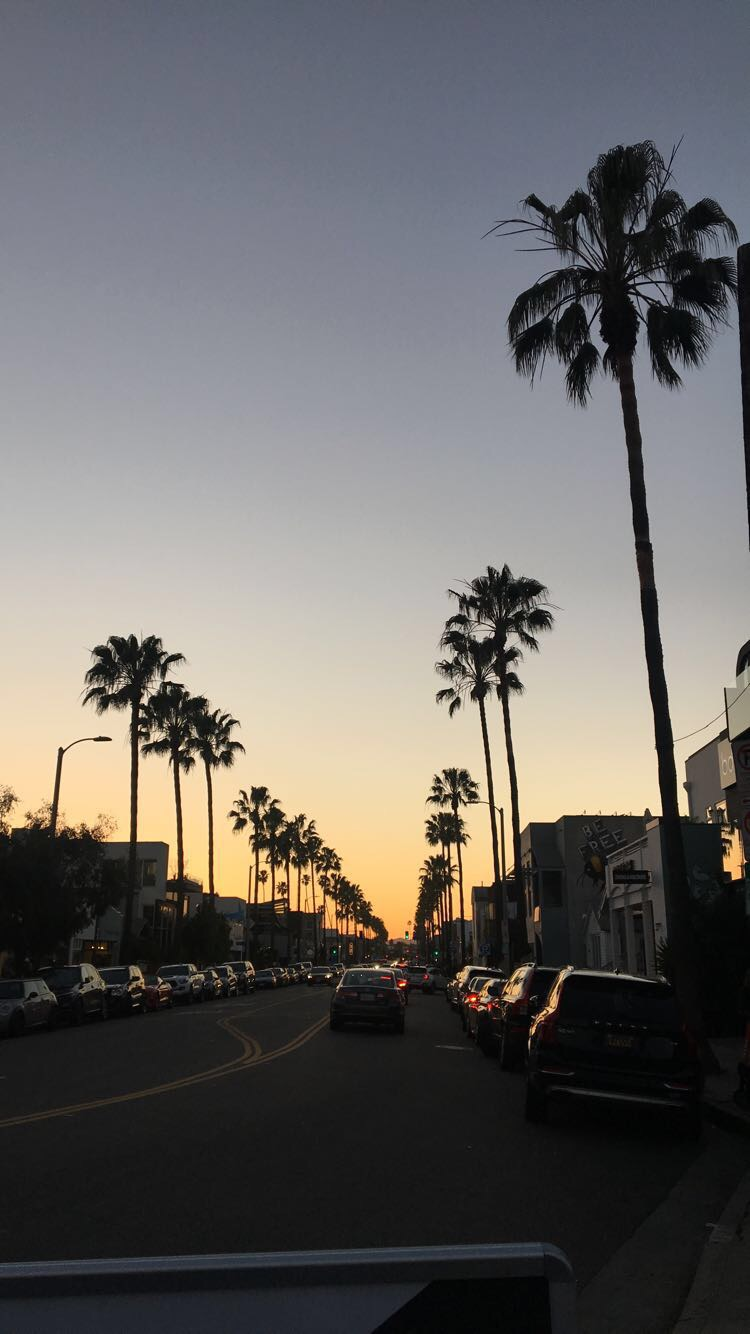 A beautiful sunset in the streets of Santa Monica, California.