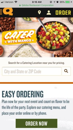 Qdoba's catering website home page.