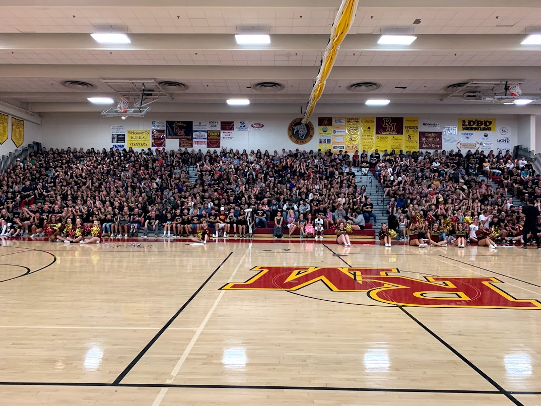 The sophomore and freshman classes at the first assembly of the year. These two classes have brought Rocky's student population nearly to it's cap, and the halls are feeling the effects.