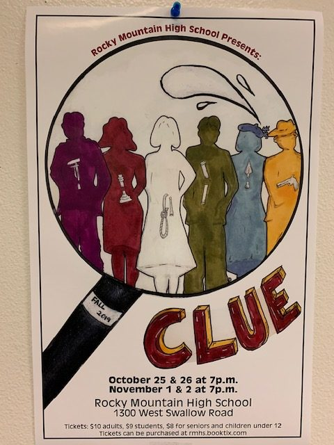 Posters around the school remind students to attend the school play.
