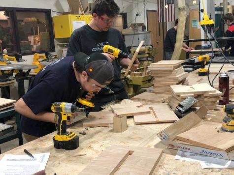 Woods students work on making their step stools.