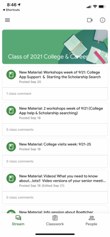 Make sure to join the Google Classroom for the Class of 2021 for updates.