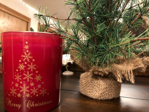 A classic Christmas candle and a tiny Christmas tree just make the room look and feel homey.