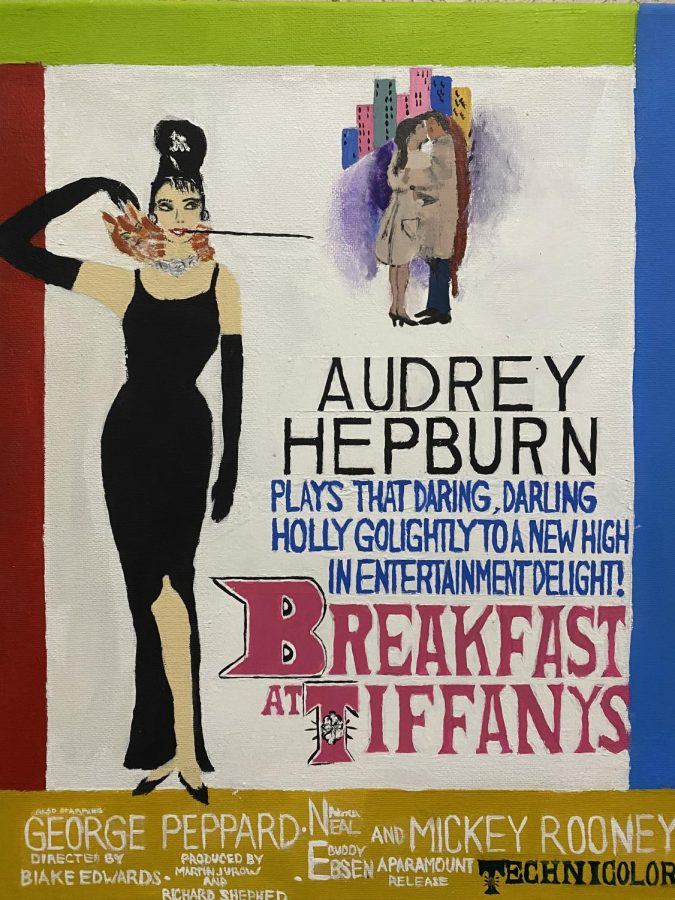 Hand-painted+Breakfast+at+Tiffany%27s+poster.