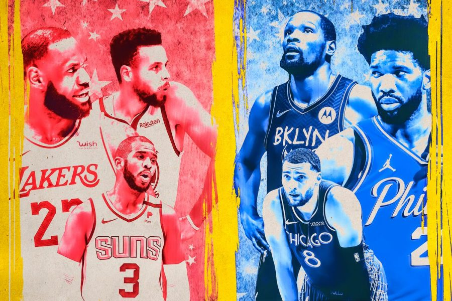 All-Stars LeBron James, Stephen Curry, Chris Paul, Kevin Durant, Joel Embiid, and Zach Lavine