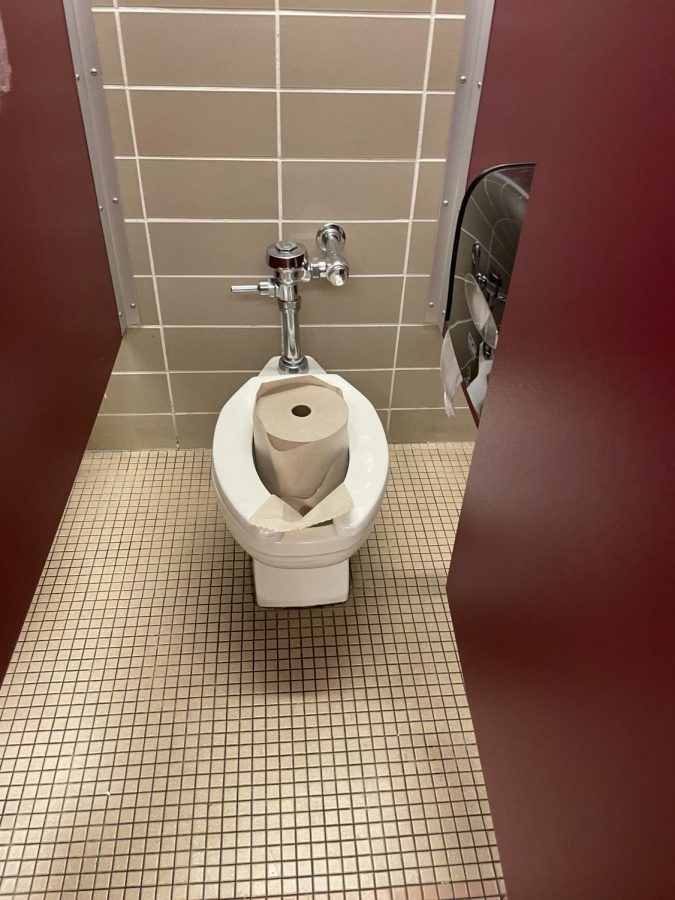 Students vandalized a Rocky bathroom during class, destroying soap dispensers, making messes and putting items in toilets.